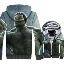 thick zip streetwear Super hero hoodies men hoody fashion Hulk 3D printed jackets coats 2018 winter casual wool liner tracksuits