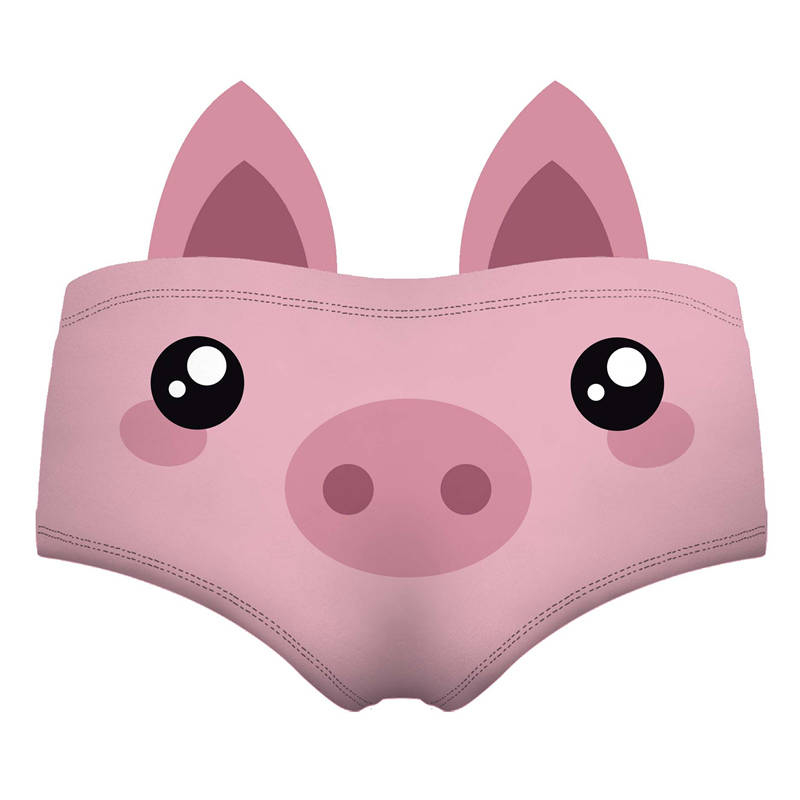 Kawaii Pink <font><b>Cartoon</b></font> Pig <font><b>3D</b></font> Cute Print Ears Women Underwear Interesting Panties For Lady Hot <font><b>Sexy</b></font> Female Lingerie Thongs Briefs image