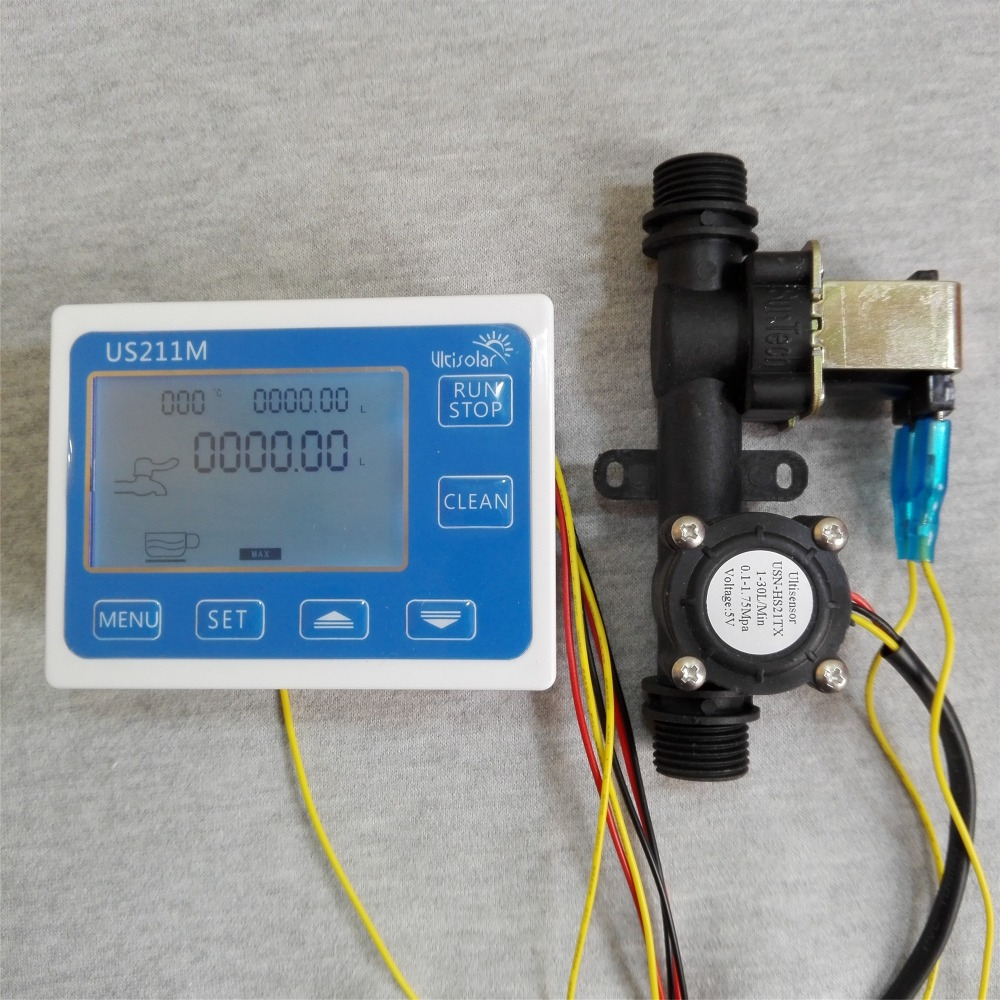 US211M Dosage Controller Flow Reader and USN-HS21TX integrated hall effect water flow sensor with solenoid Valve us208mt flow totalizer usn hs10pa 0 5 10l min 10mm od flow meter and alarmer totalizer frequency counter hall water flow sensor