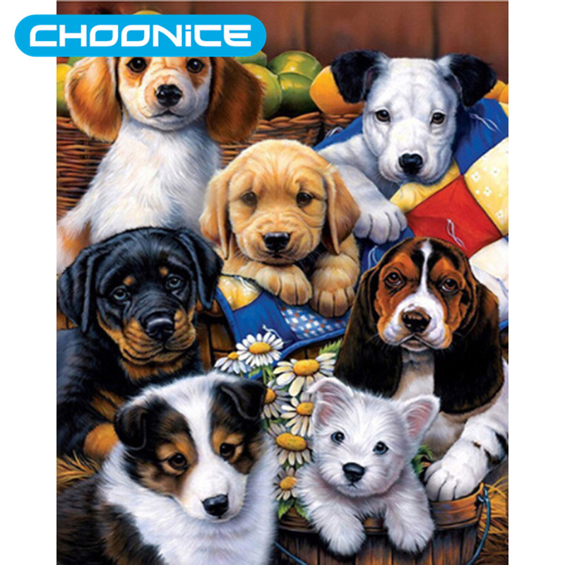 5D Diy Diamond Painting Dog Puppy Family DIY 3D Diamond Embroidery Pokemon Home Decoration Mosaic A Picture Of Rhinestones