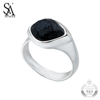 Sa Silverage Silver Ring Women Black Aventurine Gemstone Rings Female For Women Real Pure 925 Sterling