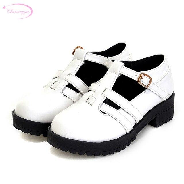 629e4bf3d Chainingyee street style confortável dedo do pé redondo bombas cinto de  fivela decoração plataforma branco preto