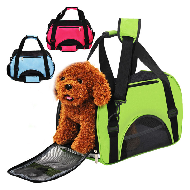 Folding Pet Carry Bag Nylon Breathable Mesh Cat Carriers Outside Portable Dog Travel Bag Outdoor Small Pet Carrying Handbag
