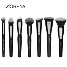 Zoreya Brand 7pieces/lots black makeup brushes set for women Cosmetic tool Nylon hair brushes wood handle Professional brushes