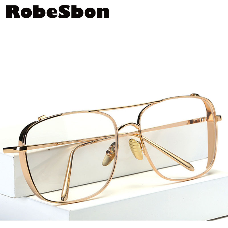 9c2f8514f5d ᗚ2018 New Brand Gold Clear Eyeglasses Frame Men Big Myopia Glasses
