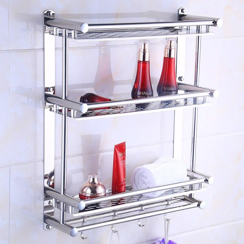 Ванная комната Полотенца стойки 304 Нержавеющаясталь полированного серебра углу стойки 3 Слои Ванная комната полки настенные туалет Ванная...