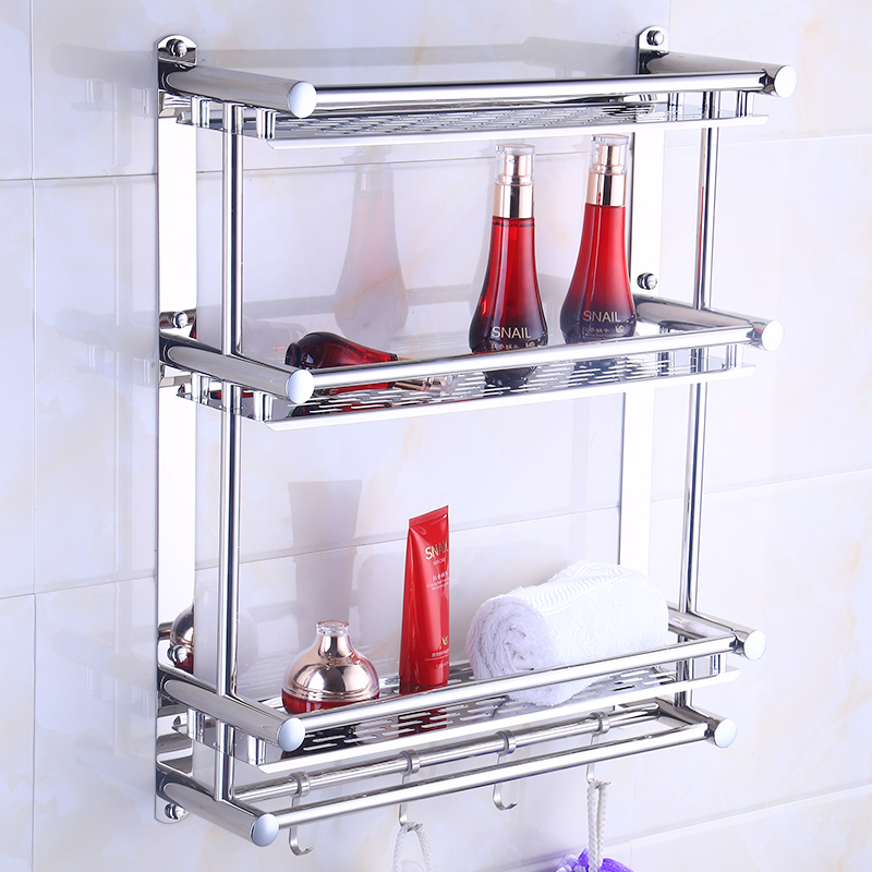 Bathroom Towel Rack 304 Stainless Steel Polished Silver Corner Rack 3 Layer Bathroom Shelf Wall Mounted Toilet Bathroom Hardware