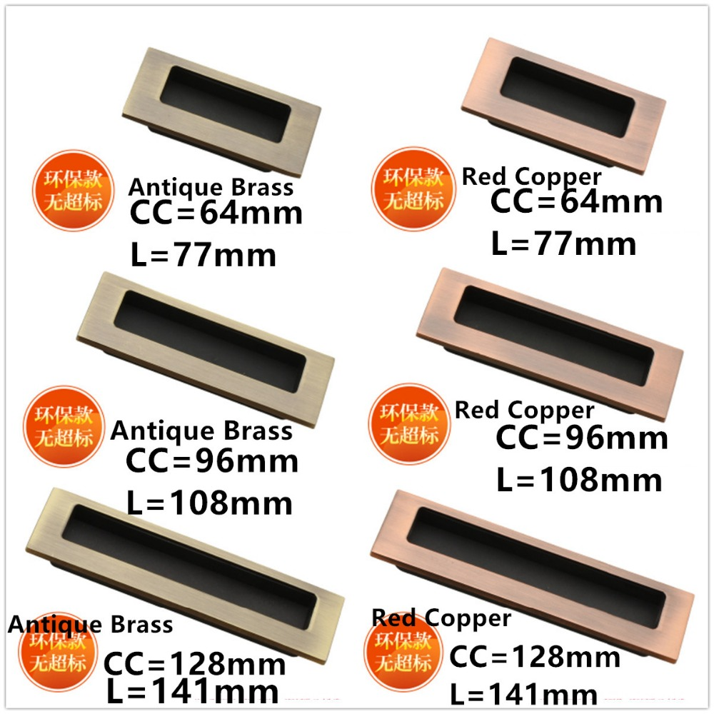 Hole Pitch 64mm/96mm/128mm Kitchen cabinet door Bronze Invisible Handle furniture bedroom drawer pull antique brass color furniture drawer handles wardrobe door handle and knobs cabinet kitchen hardware pull gold silver long hole spacing c c 96 224mm
