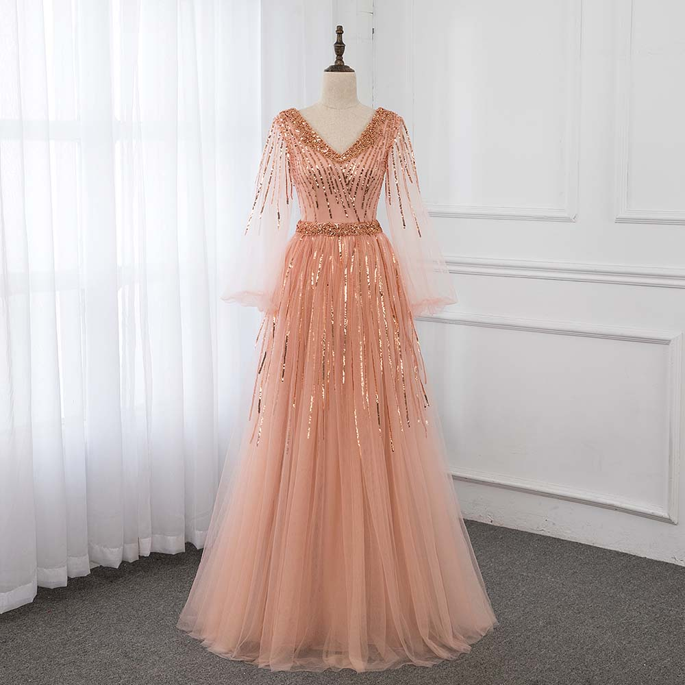 Peach Ball Gown Prom Dresses Long Sleeve V Neck Crystals Beading Zipper Back Formal Evening Gowns YQLNNE