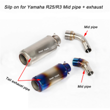 For YZF-R3 YZF-R25 Motorcycle Middle Connecting Pipe + Tail Exhaust Muffler Pipe System Silp on for Yamaha R3/R25