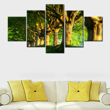 Modern Painting On Canvas Wall Art Frame Home Decor HD Printed 5 Panel Modular Oil Pictures Green Trees Landscape Poster