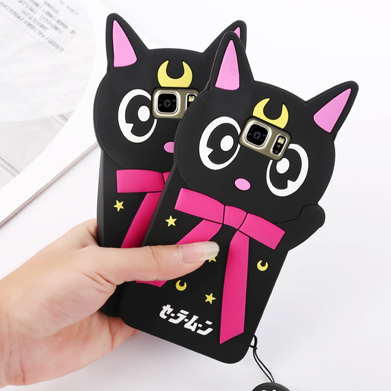 pretty nice 3709e a6906 US $6.69 |New Stylish 3D Cartoon Sailor Moon Luna Cat Cute Silicon Phone  Case for Samsung Galaxy S5/S6/S7/S7 Edge Fundas Capa Para Coque on ...