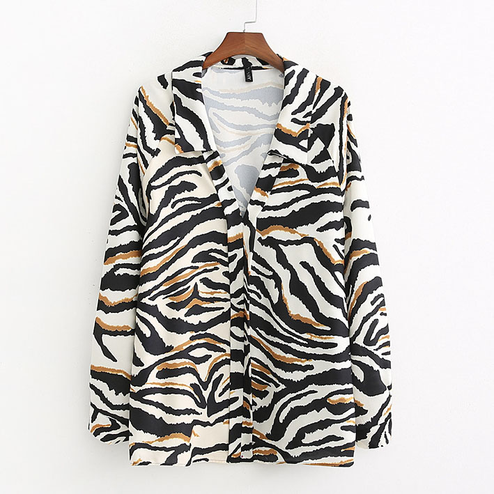 Women   Blouses     Shirt   Zebra Print Loose Stand Collar Top Casual Femininas Blusas Plus Size Long Sleeve   Shirts