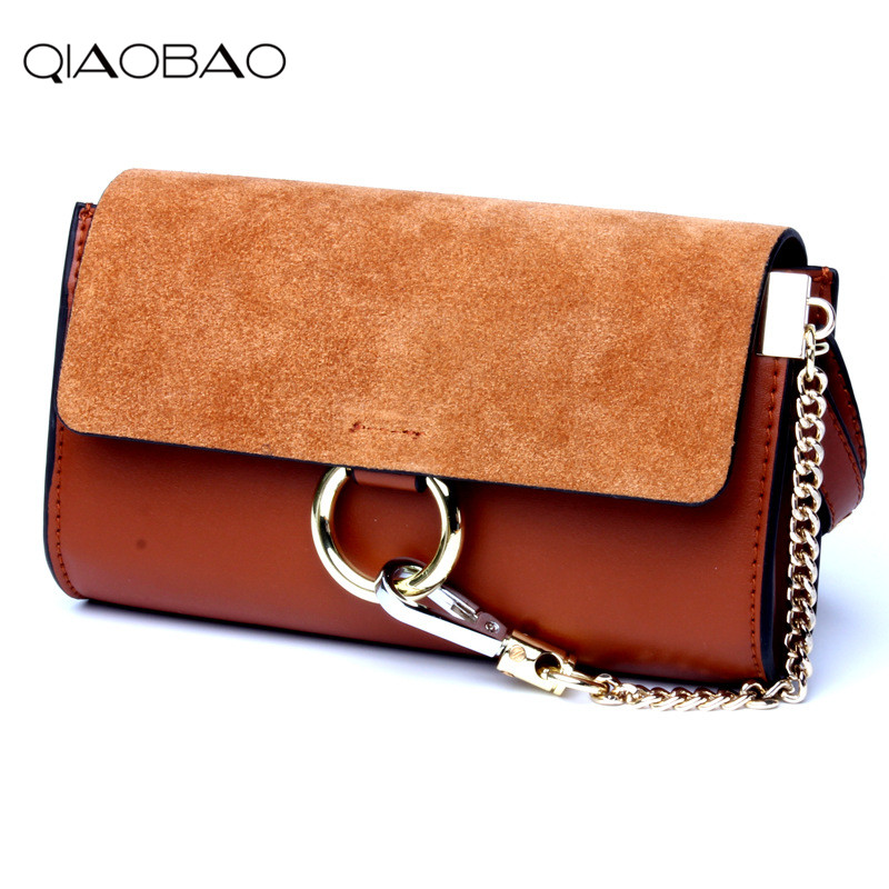 QIAOBAO 100 Genuine Leather Chain Bag Small Package Famous Brand Ring Bag Female Messenger Bag Scrub
