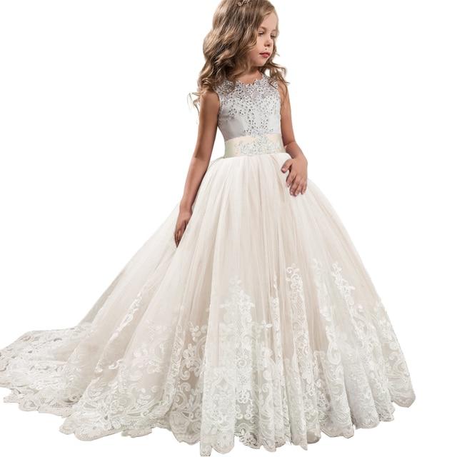 2019 Girls Summer Dress Long A-Line Evening Dress Kids Dresses For Girls Children Prom Princess Party Wedding Dress 10 12 Years