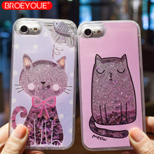 BROEYOUE Case For iPhone 6 6S 5 5S SE 7 8 Plus Quicksand Dynamic Liquid Glitter Cartoon Cat Cases Cover