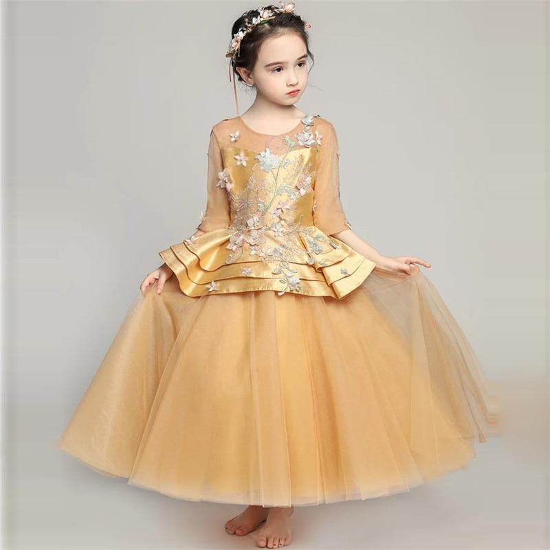 2018 г. осеннее роскошное детское платье для девочек с вышитыми цветами на день рождения, вечернее длинное платье для выпускного вечера модел