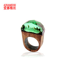 AINAMEISI High Quality Wooden Undersea Resin Wood Ring for Women Men Finger Jewelry Beautiful Gift