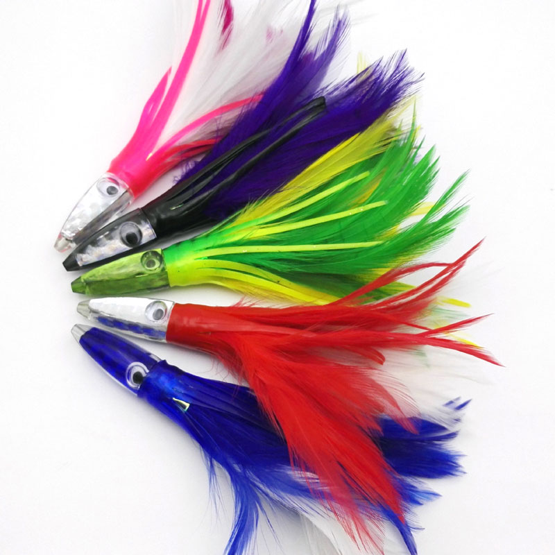 5 Colors Trolling Acrylic / Epoxy Head Feather Octopus Lure Saltwater Fishing Squids
