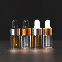 50pcs/lot 1ml,2ml,3ml Empty Glass Essential Oils Dropper Bottles In Refillable Mini Amber Serum Vials With Piette