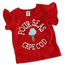 2016 Summer cotton Costume Girl T-Shirts Children  synchronous lotus leaf sleeve round neck T-shirt ice cream t shirt kids