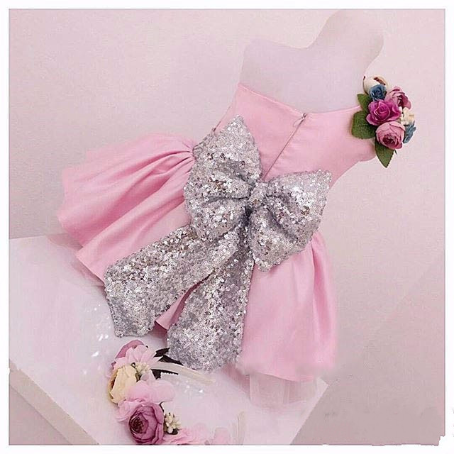 Cute Blush pink one shoulder short flower girl dress with sequined bow sash pleated toddler kids birthday gowns 2017 New