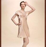 Top grade 100% pure silk nightgowns women Sexy sleepwear Home dresses SILK nightdress SATIN nightie Summer style dress