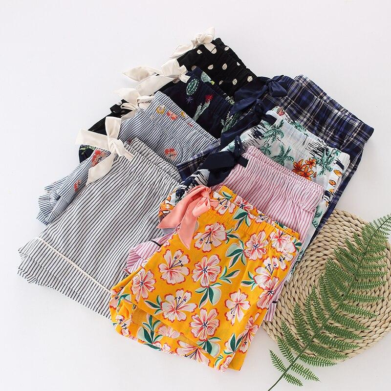 Women\\'S Sleep Pants Summer Cotton Thin Pajama Pants Ladies Sleep Bottoms Loose Shorts Lattice