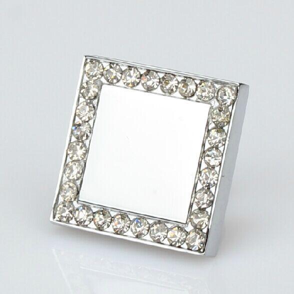 Quadrados botões de diamante de cristal armário de cozinha puxador de gaveta knob pull prata brilhante cromado cômoda armário puxadores para móveis