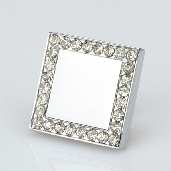 Square diamond knobs crystal drawer knob pull shiny silver kitchen cabinet handle chrome dresser cupboard furniture knobs