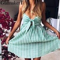 Glamaker Sweet Bow Stripe Short Summer Dress Women Casual Strap Midi Dress Vestidos Female Vintage Beach