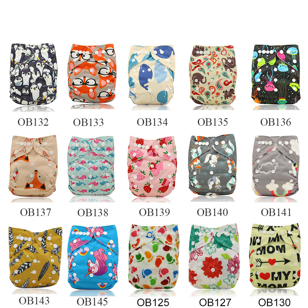 10 Pack Ohbabyka Brand Cloth Diapers Unicorn Baby Nappies Adjustable Pocket Diaper Cover Couche Lavable Reusable