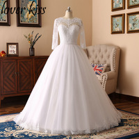 Lover Kiss Vestido De Novia Glamour Lace Arab Puffy Wedding Dresses Long Sleeves Muslim Bridal Gown Pearls Dubai Kaftan 2018