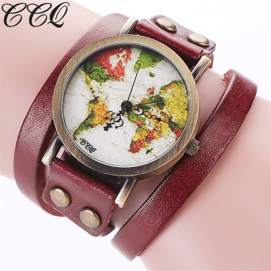 US $3.49 20% OFF|CCQ Brand Fashion Vintage Style Genuine Leather World Map  Watch Casual Women Bracelet Quartz Watch Relogio Feminino C90-in Women\'s ...