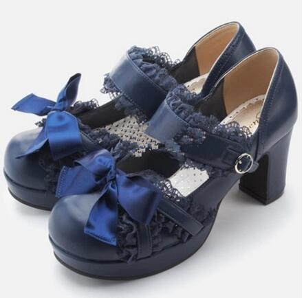 Japanese QB Classical Lace Princess Girls Daily Lolita Shoes 2017 Ribbon Bow Pumps With Platform Chunky Heel princess lolita punk shoes loliloli yoyo japanese design custom large size black lace with pu lace up short boots 1423 a