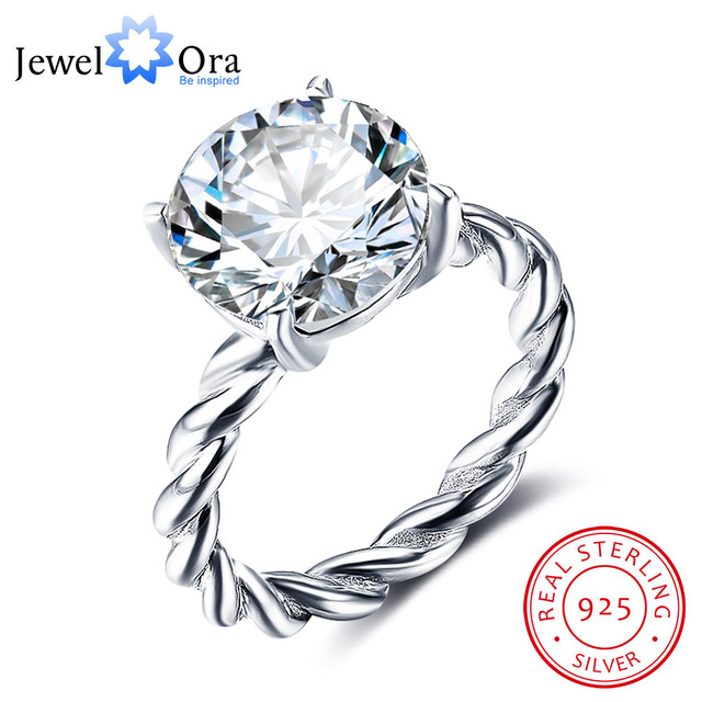 12mm Round Cubic Zirconia 925 Sterling Silver Wedding Jewelry Rings