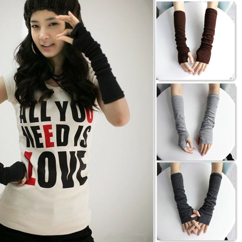 Hot Women Winter Wrist Arm Hand Warmer Knitted Long Fingerless Gloves Mittens 012-In -8552