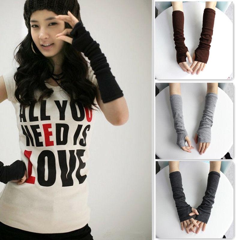 Hot Women Winter Wrist Arm Hand Warmer Knitted Long Fingerless Gloves Mittens  #012