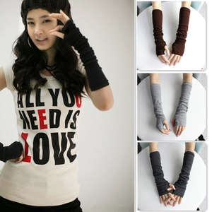 Hot Women Winter Wrist Arm Hand Warmer Knitted Long Fingerless Gloves Mittens  #012