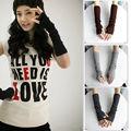 Hot mulheres de inverno braço quente longo de malha luvas sem dedos luvas 012