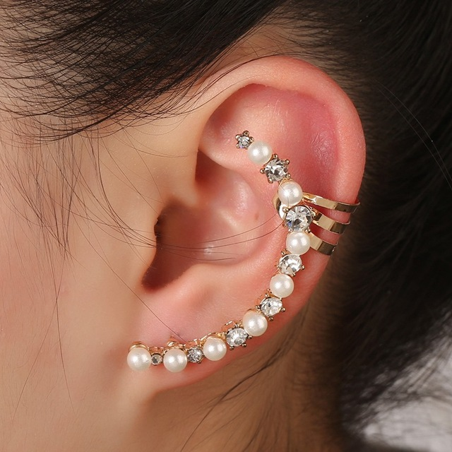 2017 Special Offer New Alloy Earrings An Pearl Crystal Curved Ing Ear Cuff