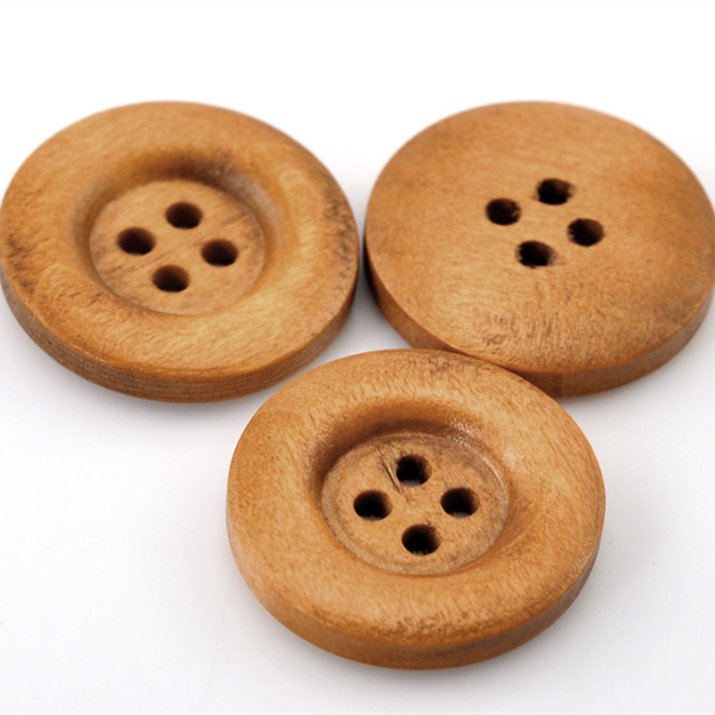 500Pcs Round Wood Sewing Buttons 4 Holes 23mm 7 8 quot Light Coffee Wooden Ornaments Scrapbook Making in Buttons from Home amp Garden