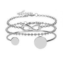 3Pcs/Set Bohemian 8 Shape Beads Bracelets Bangles Couple Vintage Round Love Opening Golden Bracelet Set 2019 Femme Jewelry