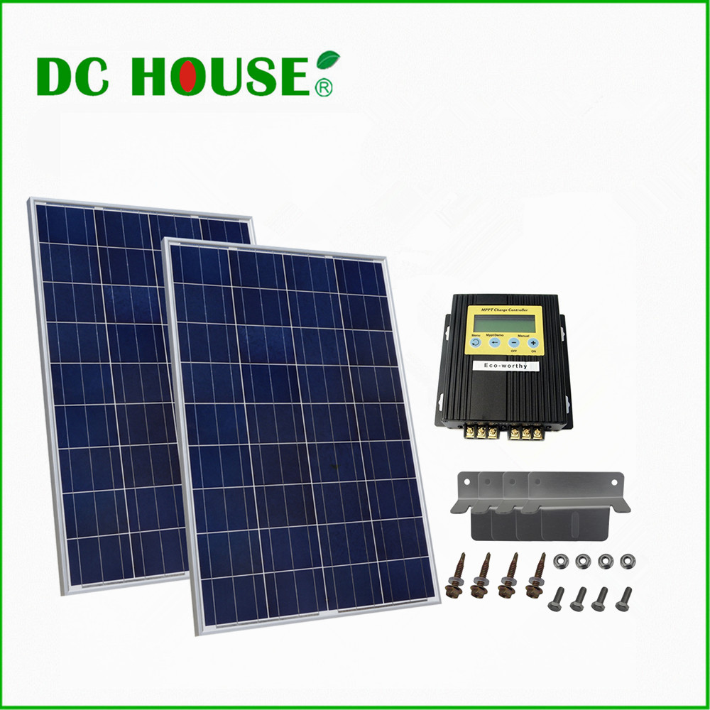 DC HOUSE DE Stock COMPLETE KIT: 200W 2x 100W PV Solar Panel for 12V 24V RV Boat Solar System Free Shipping