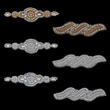 MASOKAN Handmade Bling Sew On Beaded Crystal AB Rhinestone Applique for Wedding  Ornaments Baby Girl Hair e448ab796f04