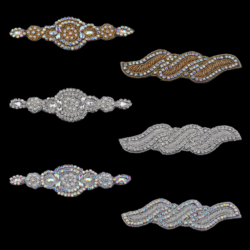 MASOKAN Handmade Bling Sew On Beaded Crystal AB Rhinestone Applique for Wedding Ornaments Baby Girl Hair Accessories