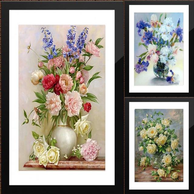 Disporre i fiori 5D DIY diamante Pittura di fiori Punto Croce diamante ricamo mo