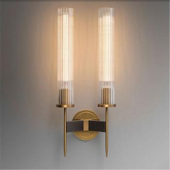 Postmodern light luxury 1/2 head wall lamp living room TV background wall lamp Bedside Bedroom Glass Simple Brass Wall Lamp