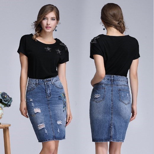 Femme broderie Jeans Jupe genou longueur Denim jupes femmes longues déchiré jupes pour femmes Jupe Falda grande taille 3xl 4xl