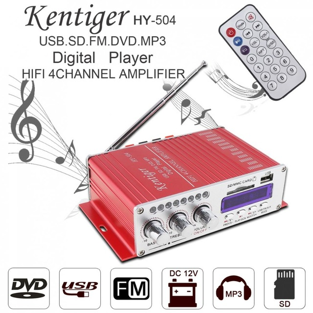 Best Offers Kentiger HY-504 4CH HI-FI Car Audio High Power Amplifier FM Radio Player Support SD USB DVD MP3 Input for Car Motorcycle Home
